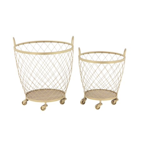 Decmode Set of 2 Modern Diamond-Weave Round Iron Baskets With Wheels, Gold
