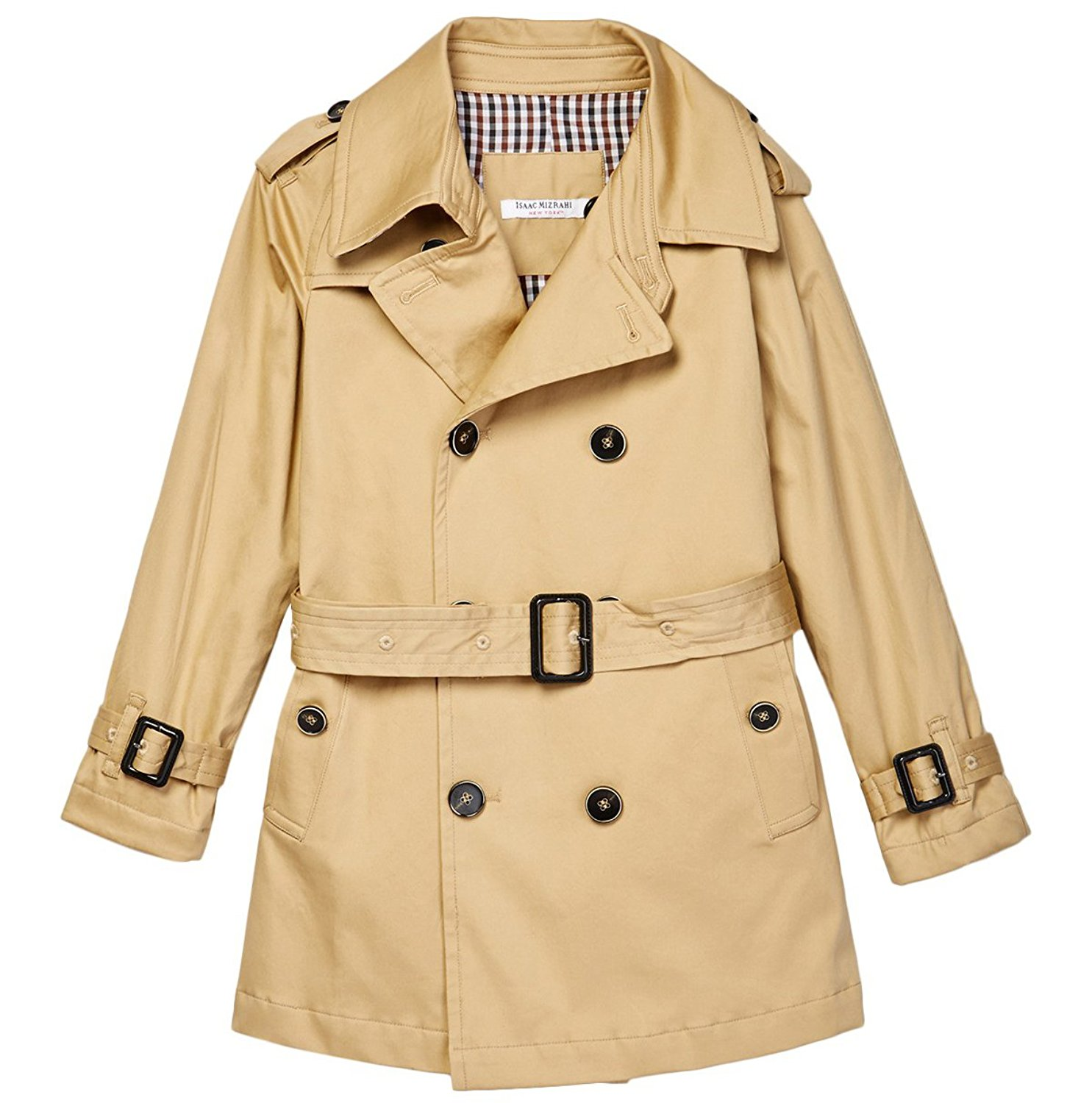 Isaac Mizrahi Boy's Double Breasted Belted Trench Coat-Ra...