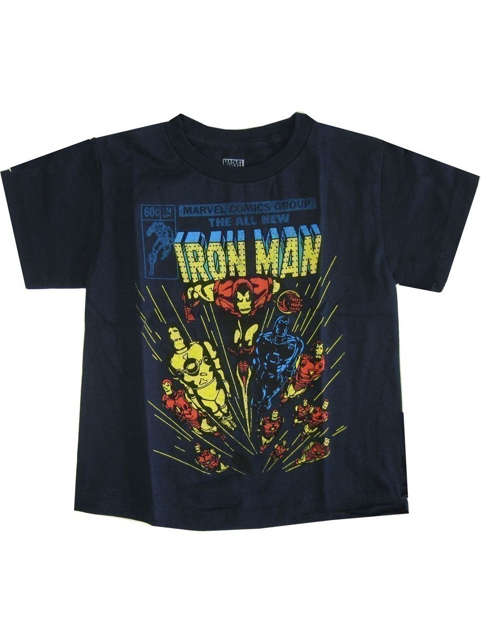 Marvel Little Boys Navy Iron Man Super Hero Print Short Sleeve T-Shirt