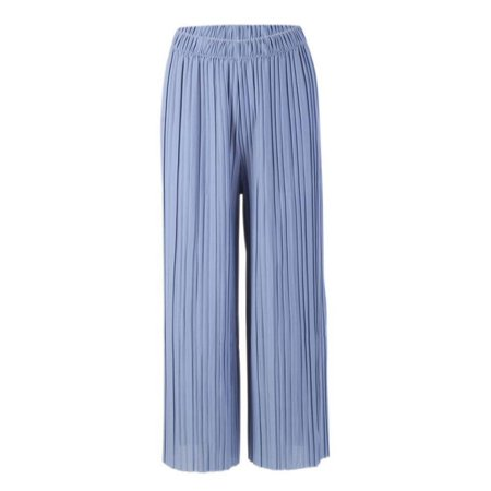 - Babula Women Wide Leg Pants Pleated Elastic Waist Casual Baggy Trousers