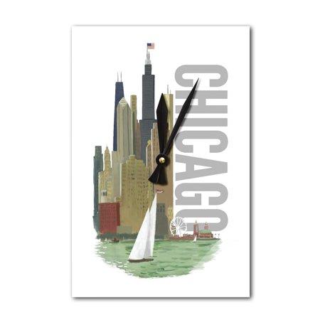 Chicago, Illinois - Vintage Watercolor Skyline - Lantern Press Artwork (Acrylic Wall Clock)