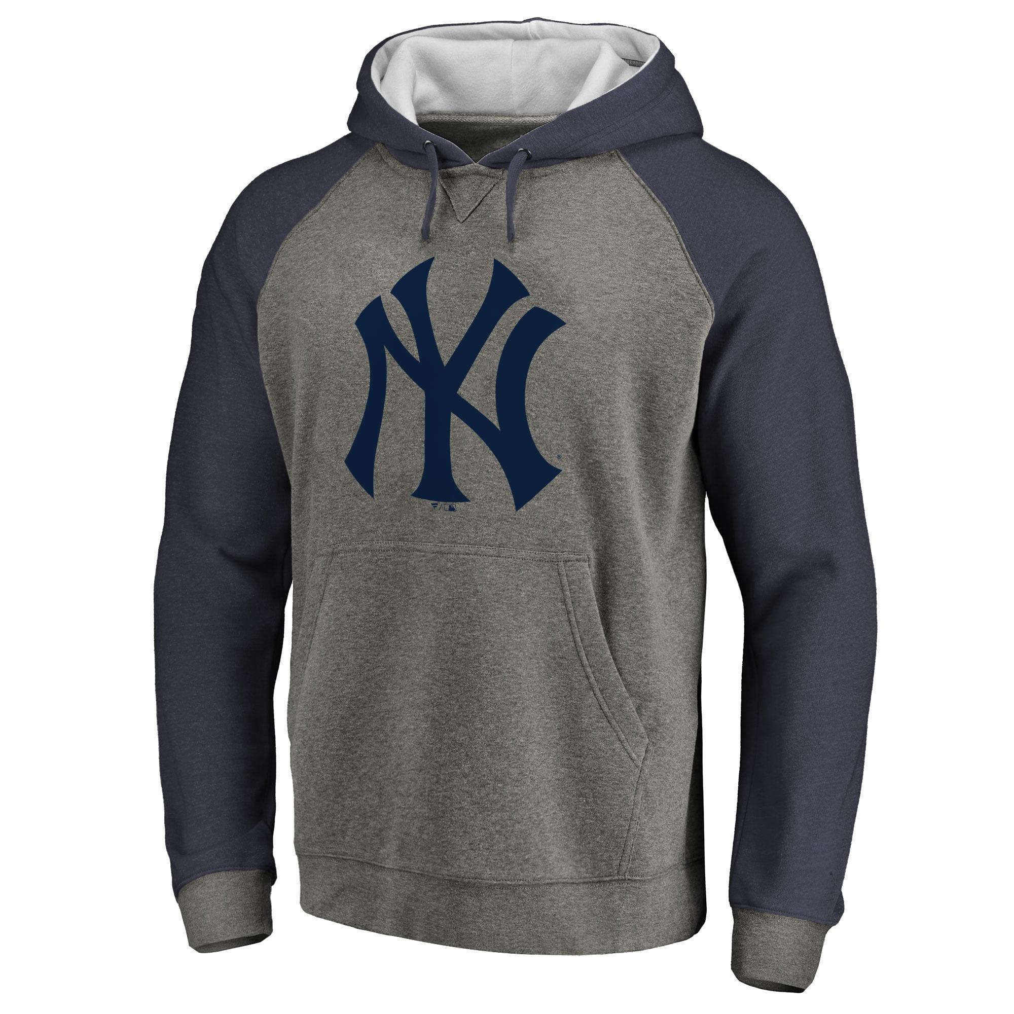 New York Yankees Primary Logo Raglan Sleeve Tri-Blend Pullover Hoodie - Ash