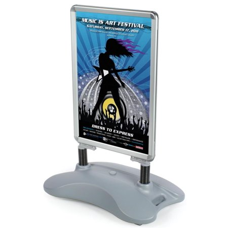 """Silver Aluminum Base (Pavement Signs 32""""w x 41-1/2""""h x 19-1/2""""d Silver Aluminum Frames with Gray Plastic Bases Sidewalk Signage Holders Hold 24""""w x 30""""h Images – Outdoor Sandwich Boards Have Wheels at the Base (PS15C28V2))"""