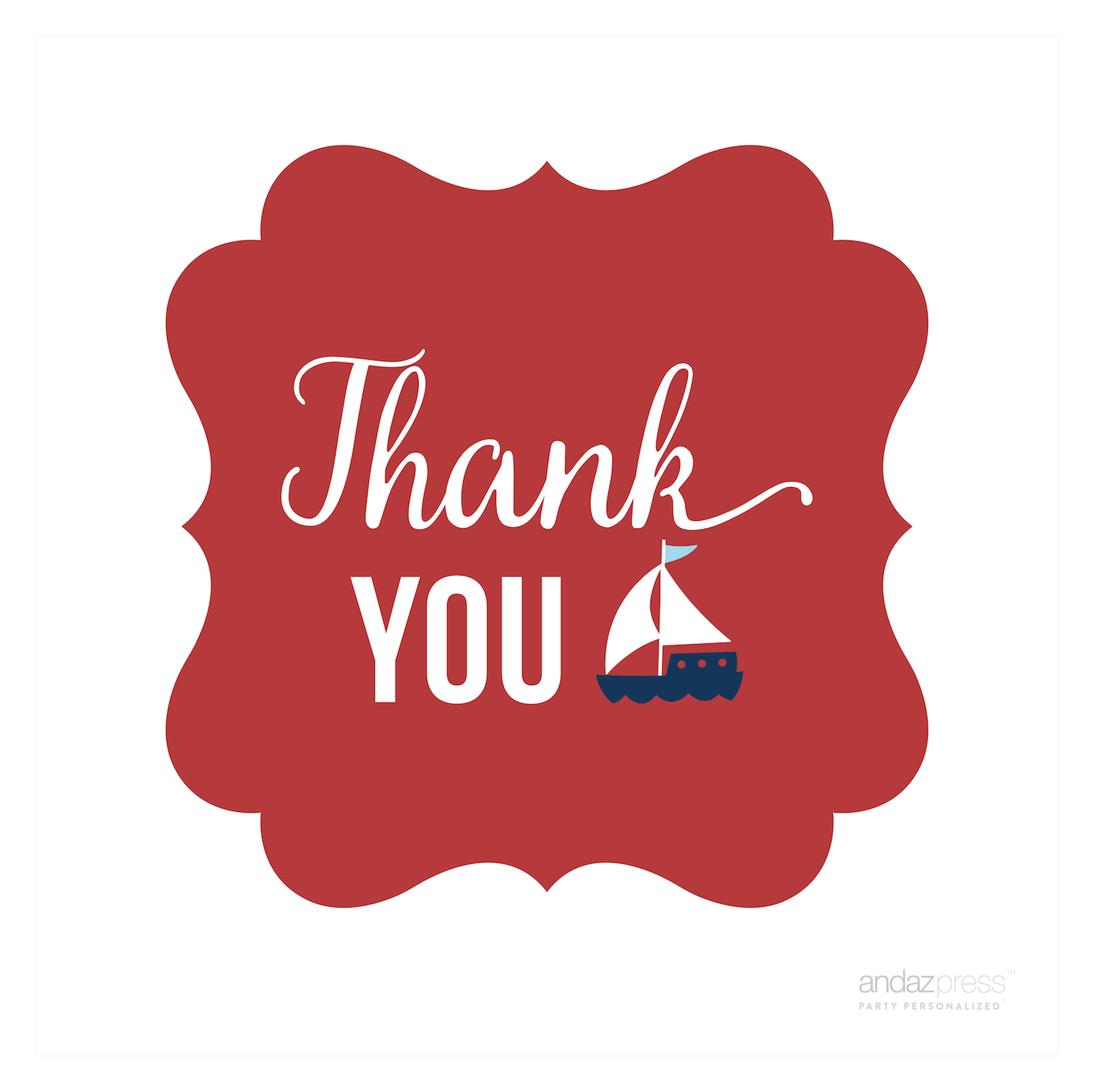 Sail Away Nautical Birthday Thank You Sailboat Fancy Square Gift Tags, 24-Pack