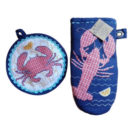 FRESH CATCH Crab & Lobster Potholder & Oven Mitt Set, by Kay