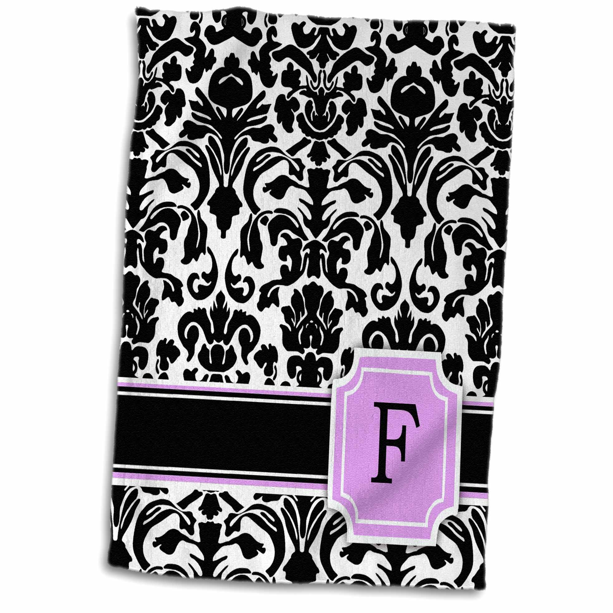 3dRose Personal initial F monogrammed pink black and white damask pattern girly stylish personalized letter - Towel, 15 by 22-inch