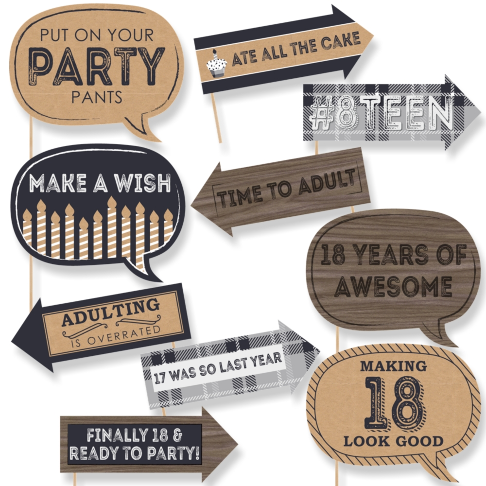 Funny 18th milestone birthday time to adult 18th birthday party photo booth props kit 10 count walmart com