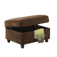 ACME Belville Storage Ottoman, Chocolate Velvet