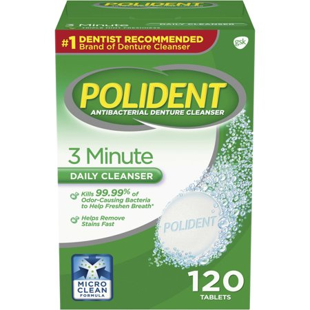 (2 pack) Polident 3 Minute Triple Mint Antibacterial Denture Cleanser Effervescent Tablets, 120
