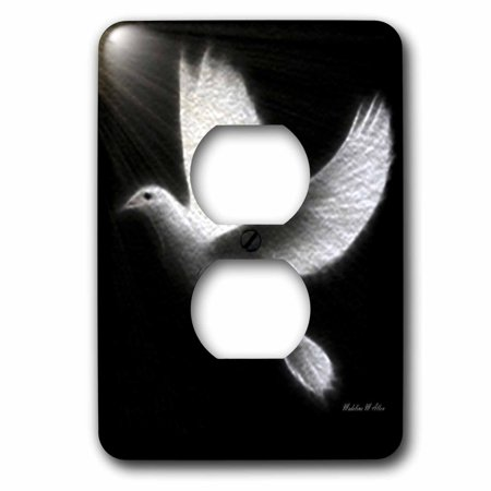 3dRose Fractalius Dove Black White Bird Art 2 Plug Outlet Cover lsp 65