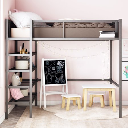 Mainstays Metal Storage Loft Bed with Book Case, Black, Twin ()