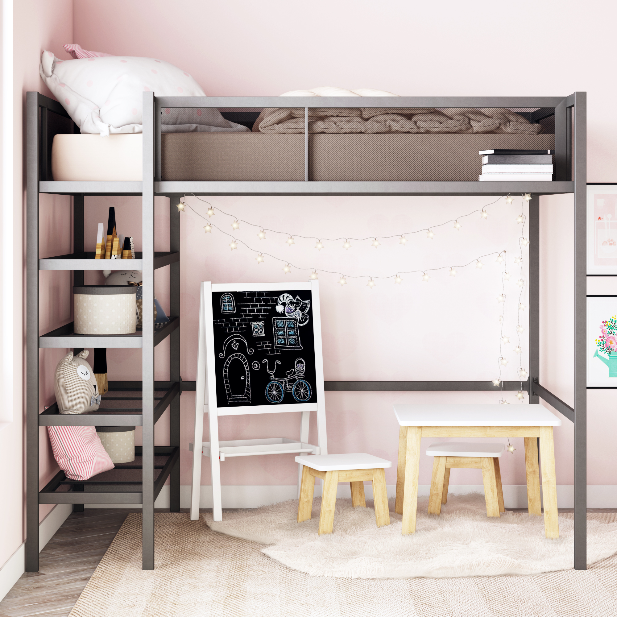 Mainstays Metal Storage Loft Bed With Book Case, Black, Twin