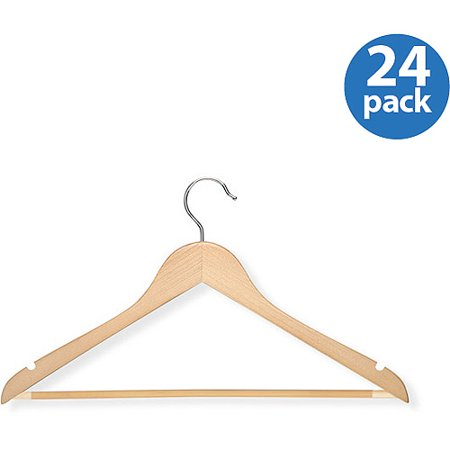 Honey Can Do Suit Hanger with Non-Slip Bar, Maple (Pack of 24)