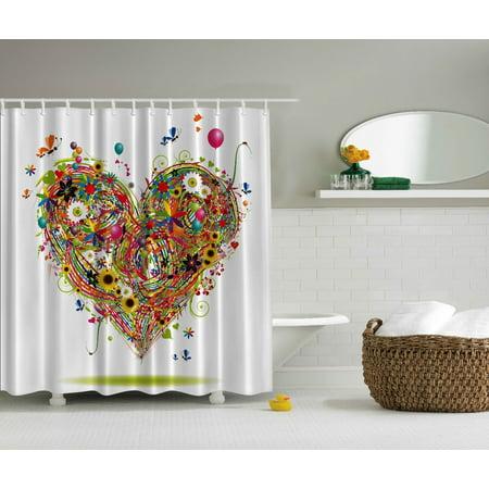Heart Shower Curtain (Hearts Flower Balloon Daisies Butterflies Sunflowers Extra Long Shower)