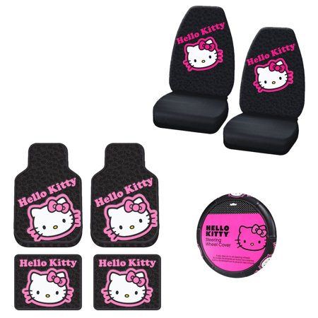 Hello Kitty 2 Front Vinyl Floor Mats And 2 Rear Vinyl Floor Mats With 2 Seat Covers Plus Wheel