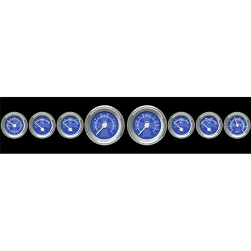 Aurora Instruments 1650 Assembled Speedometer Gauge - Iron Cross Series - Blue Face  White Modern Needles  Chrome Bezels