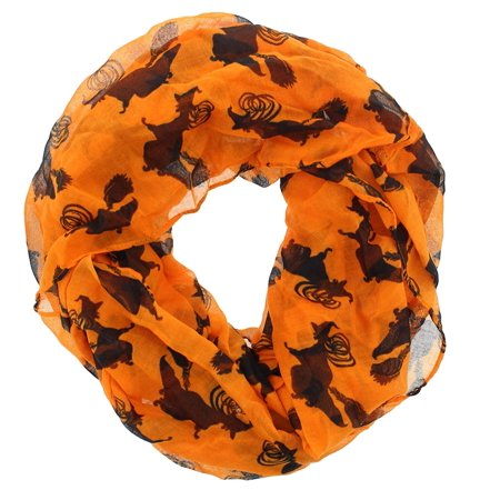 Women's Halloween Theme Gauze Infinity Scarf (Orange Flying Witches) (Painted Scary Faces Halloween)