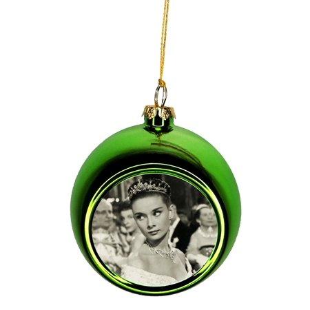 Crown Christmas Ornaments.Ornaments Vintage Actress Audrey Hepburn Wearing A Crown Bauble Christmas Ornaments Green Bauble Tree Xmas Balls