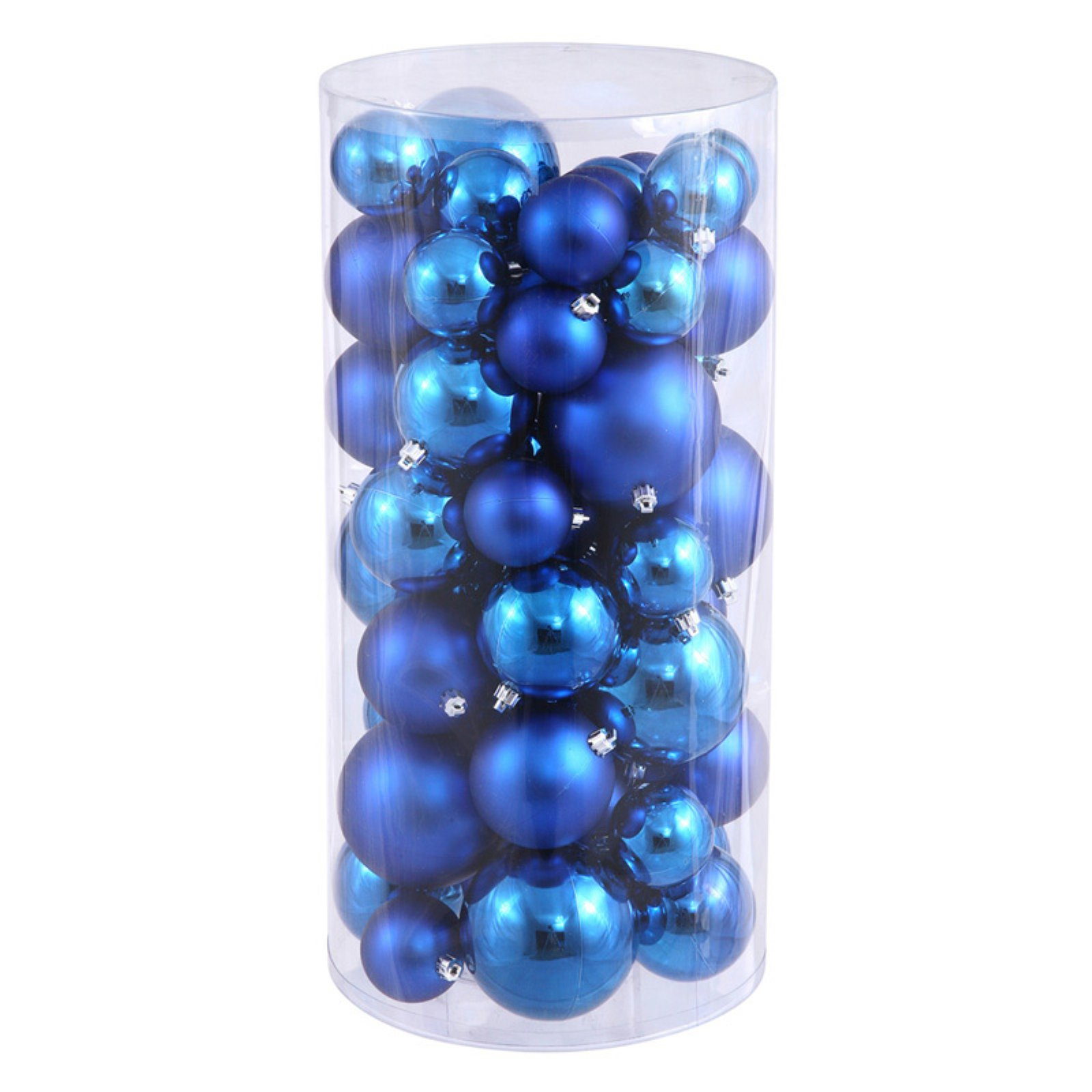 "Vickerman 2.4""/3""/4"" Blue Shiny/Matte Ball Ornaments, Set of 50"