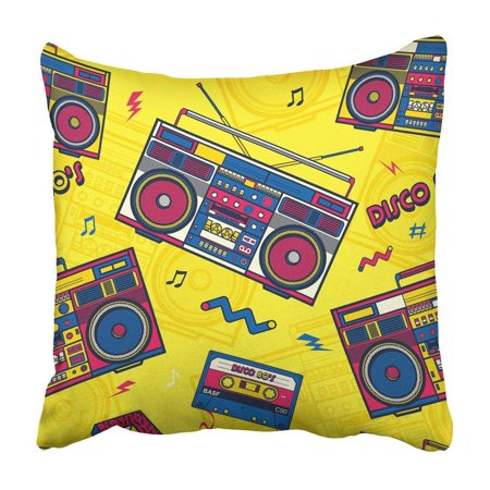 WOPOP Colorful Music Retro Pop Eighties Boombox Radio 80'S Memphis Party Hipster Cassette Box Pillowcase Cover 20x20 inch
