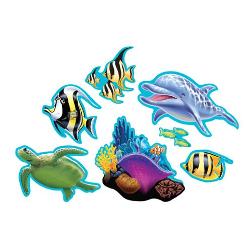 """Club Pack of 84 Two-Sided Tropical Ocean Party Cutout Hanging Party Decorations 12"""""""
