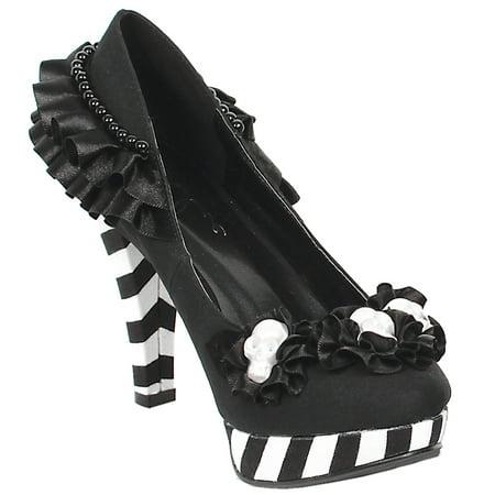 Womens Black and White Shoes Platform Pumps Ruffle Flowers Skulls 4 Inch Heels (Black Skull Platform)