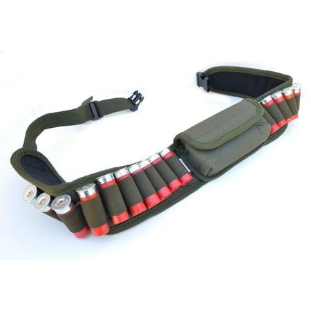Hunting Shotgun Shell Belt Ammo Carrier Waist Belt with glass pouch - OD