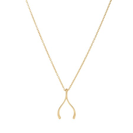 Oval Link Long Necklace - 14K Yellow Gold 20X12mm Shiny Wishbone Element Charm On 1.1mm Oval Link Fancy Necklace with Lobster Clasp