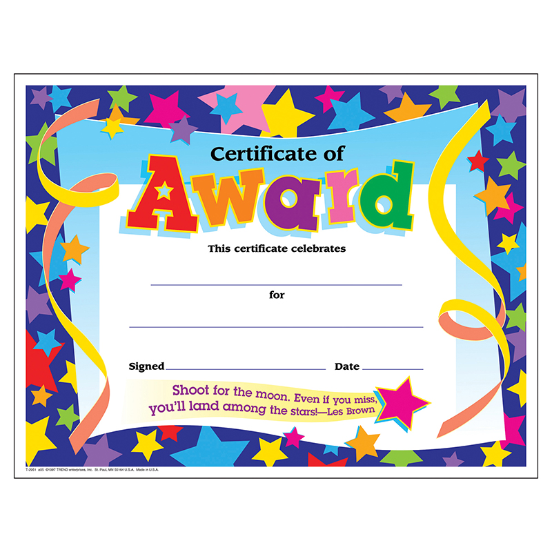 (6 Pk) Certificate Of Award Stars 30 Per Pk 8.5X11