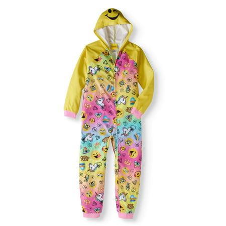 20295a09149f EMOJINATION - Emojination Girls Yellow Hooded One-Piece Pajamas -  Walmart.com