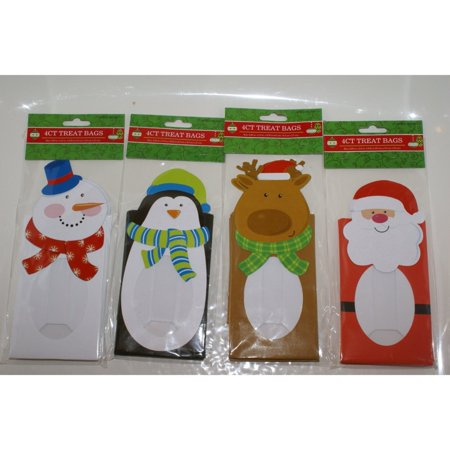 4 Pack Die-Cut Christmas Cookie and Treat Bags Four Styles - Christmas Cookie Bags