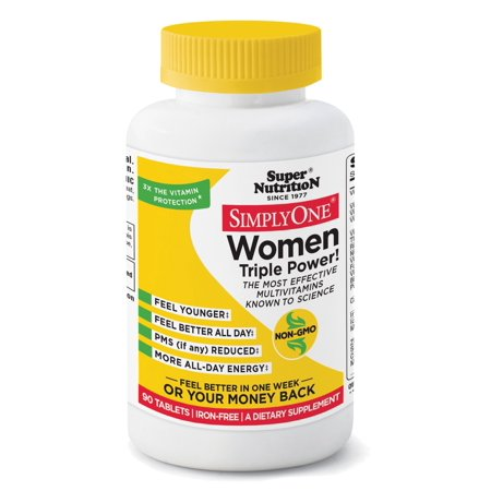 Super Nutrition, Simply One Multi-Vitamin/Mineral Supplement Tablets Women, 90 Ct