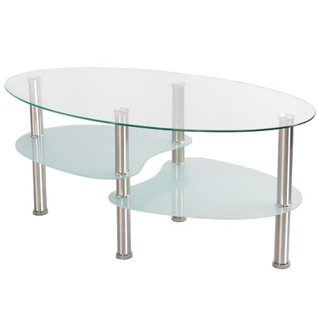 3 Tier Modern Living Room Oval Glass Coffee Table Round Glass Side End Tables with Chrome Finish Legs Cocktail Table Living Room Upholstered Table