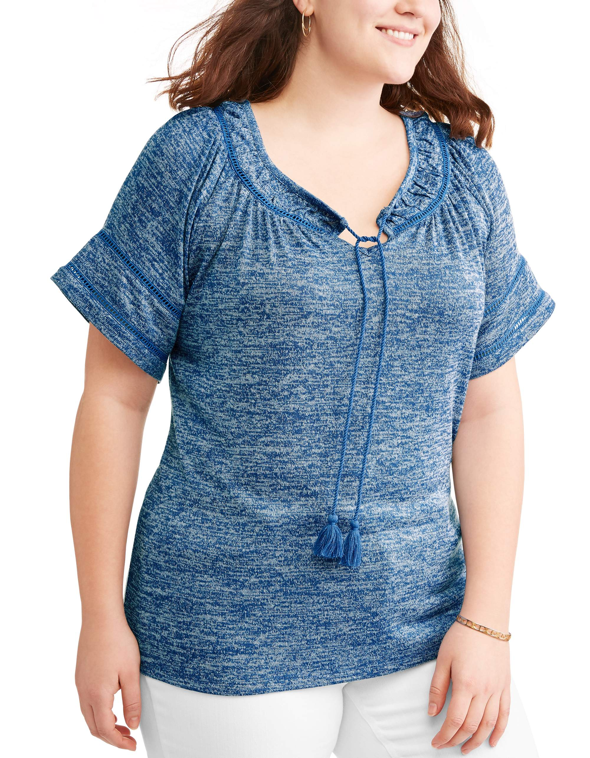 Women's Plus Peasant Top with Stitch Details
