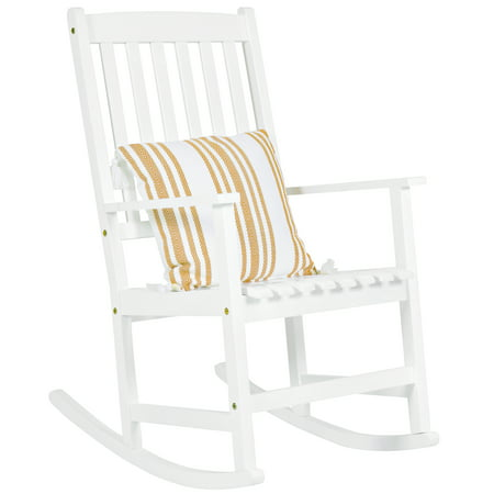 - Best Choice Products Indoor Outdoor Traditional Wooden Rocking Chair Furniture w/ Slatted Seat and Backrest for Patio, Porch, Living Room, Home Decoration - White