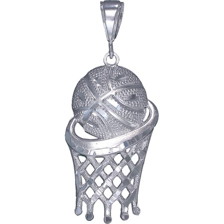 Large Sterling Silver Basketball Hoop Charm Pendant Necklace 2.2 Inches 6 Grams with Diamond Cut Finish and 24 Inch Figaro (Grams Chain)