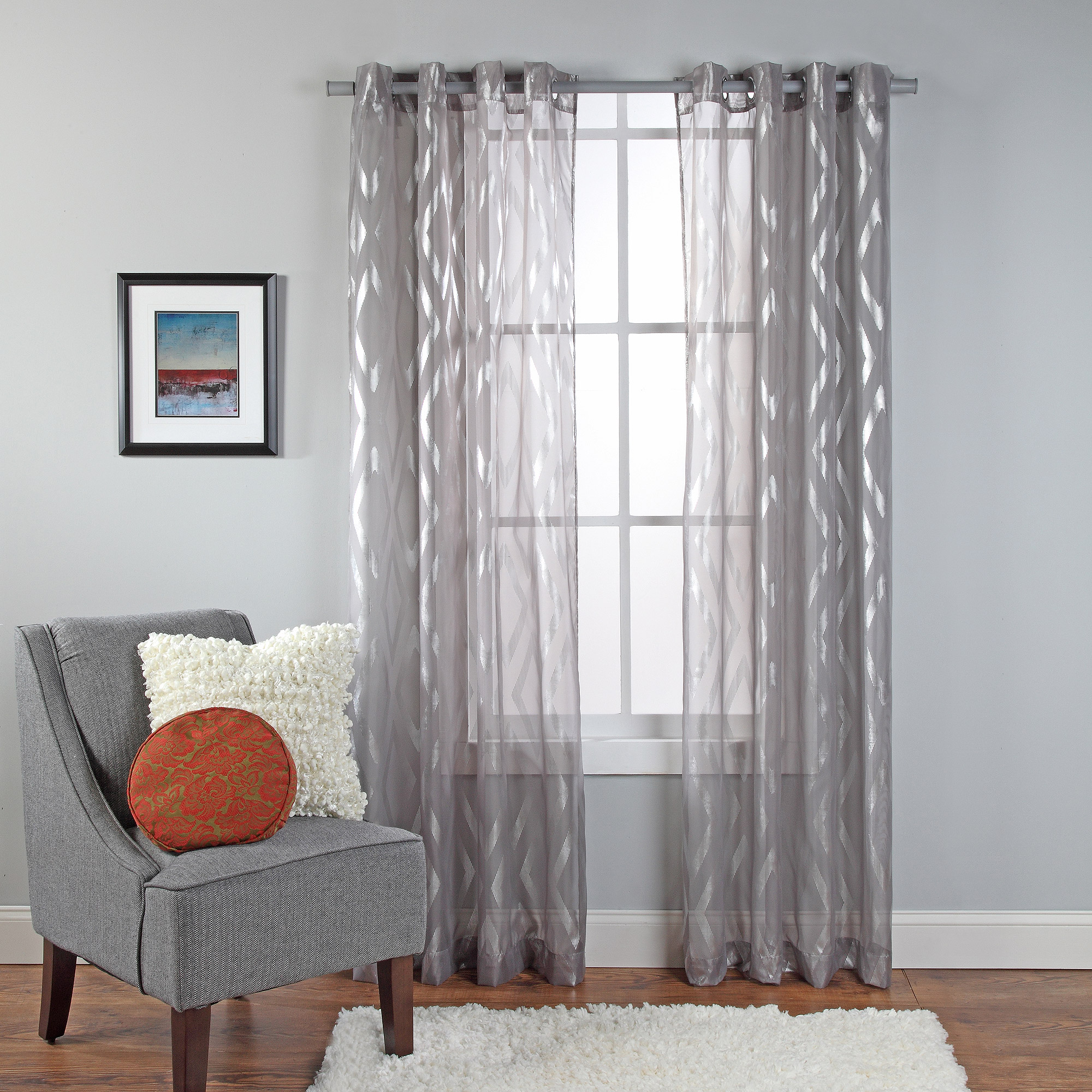 Delancey Metallic Print Sheer Grommet Window Panel Walmartcom