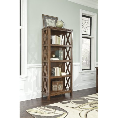 Burkesville Medium Brown Wooden Home Office Large Bookcase With Four Shelves