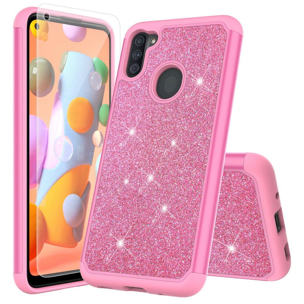 for Samsung Galaxy A11 with Tempered Glass Phone Case Glitter Shock proof Edge Scratch Shield