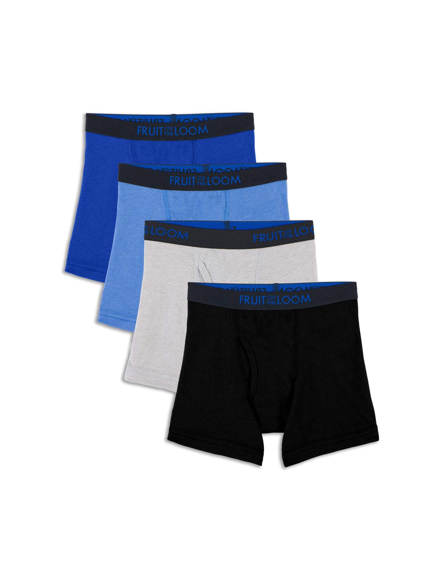 Breathable Cotton Mesh Boxer Briefs, 4 Pack (Toddler Boy)