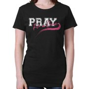 Breast Cancer Awareness Shirt Pray for Cure Think Pink Ribbon Ladies T-Shirt