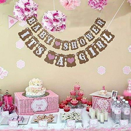 2 In 1 Pink Baby Shower And It's A Girl Heart Garland Bunting Banner. Vintage Rustic Party Decorations, Kraft Paper Photo Props. Party Favorite. By Premium Disposables. - Vintage Valentine Decorations