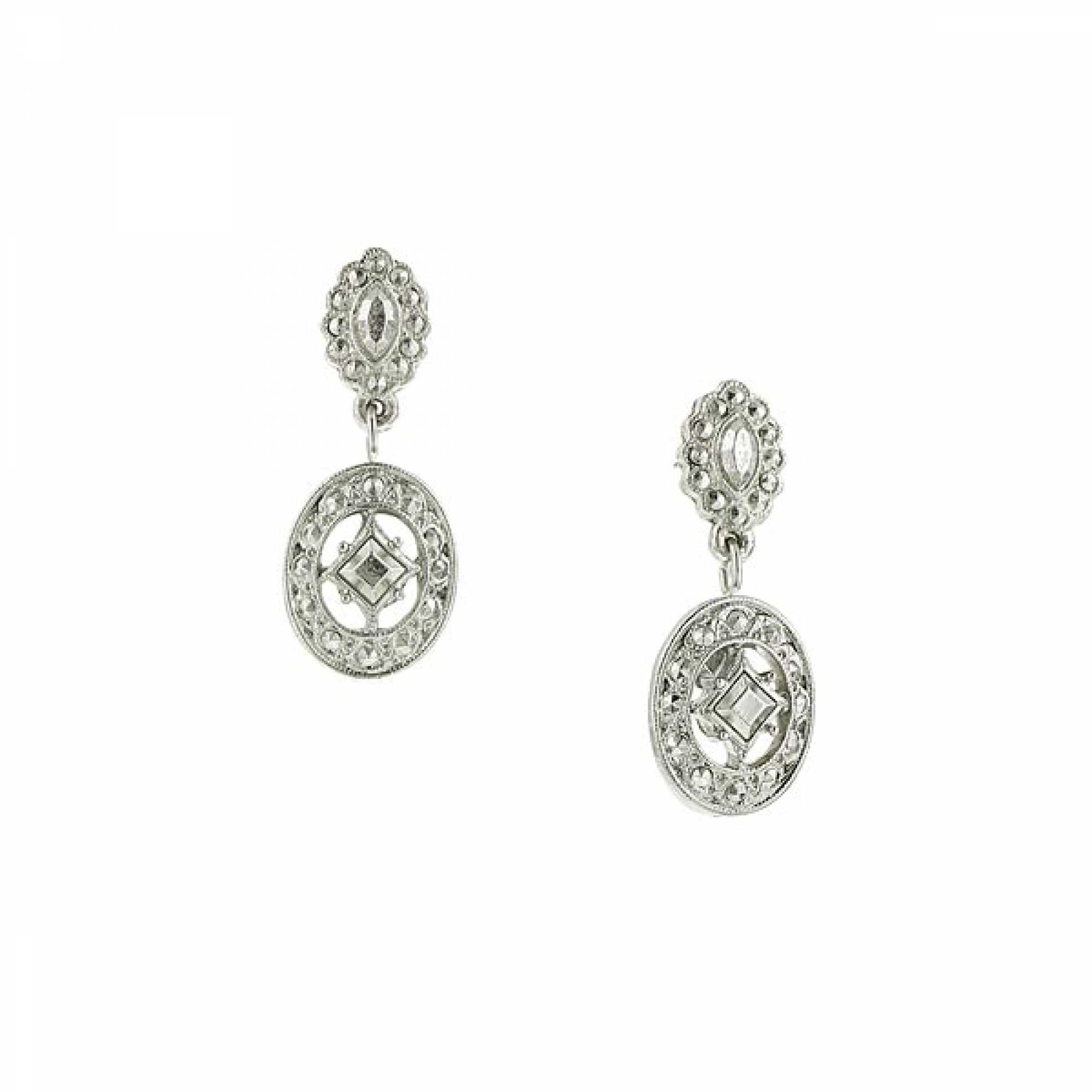 1928 Jewelry Stardust Scalloped Post Oval Drop Earrings