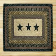 "Earth Rugs PP-Black Stars Print Braided Rug, 20 x 30"", Brown/Black/Charcoal"