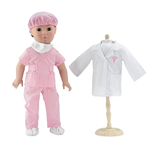 18 Inch Doll Clothes | Complete 6-piece Doctor or Nurse Hospital Pink Scrubs Outfit,... by Emily Rose Doll Clothes