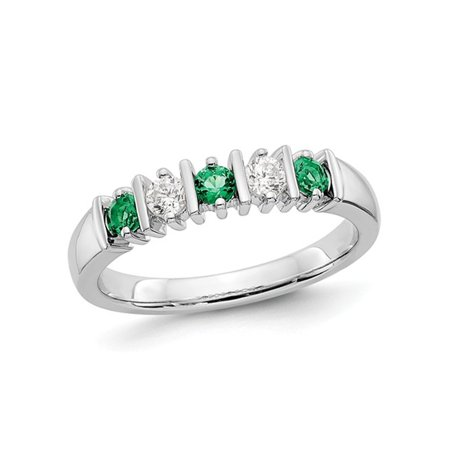 3/10 Carat (ctw) Natural Emerald Band Ring in 14K White Gold with 1/5 Carat (ctw) Diamonds - image 5 de 5