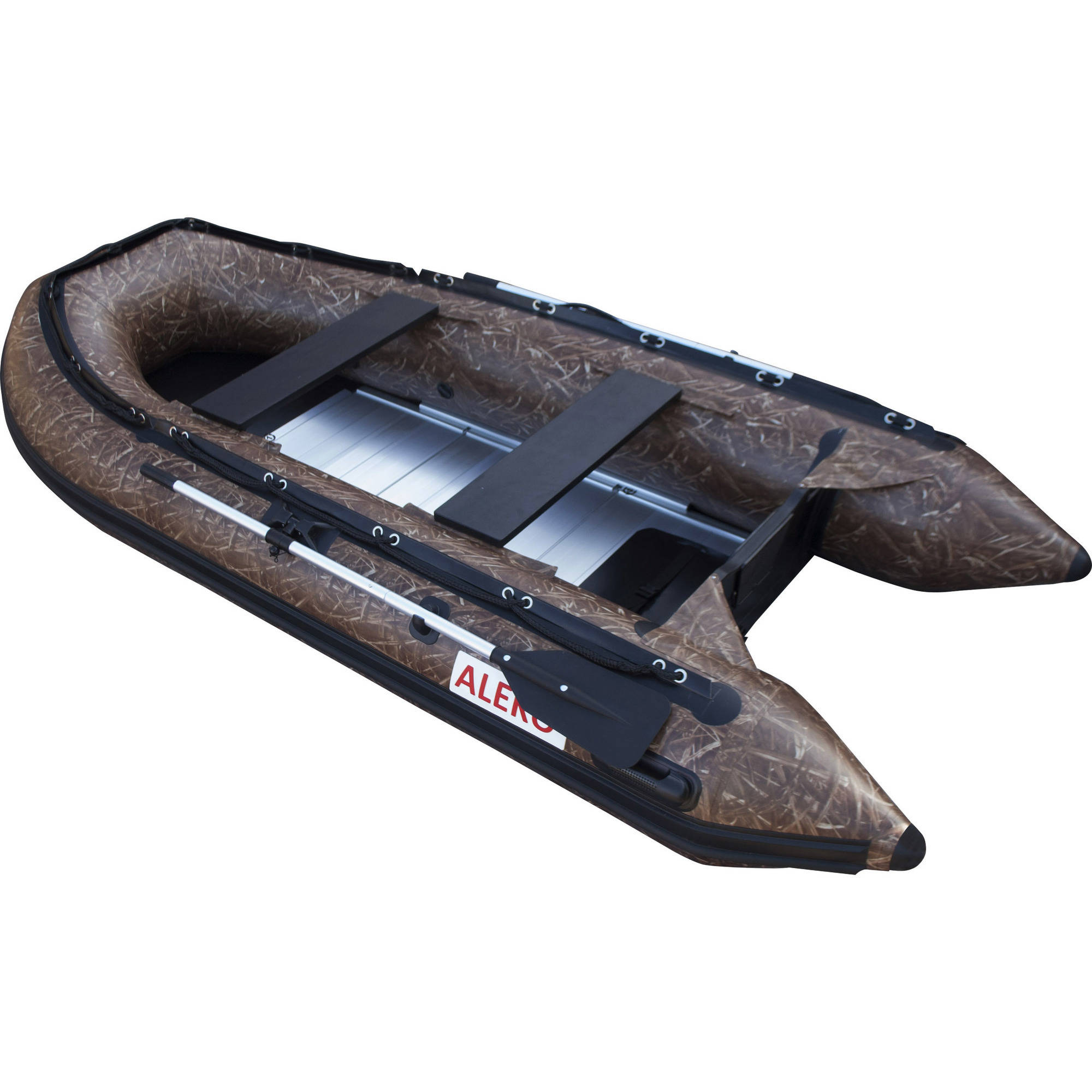 ALEKO Inflatable Boat - Aluminum Floor - 6-Person - 12.5 Feet - Hunter Style Color