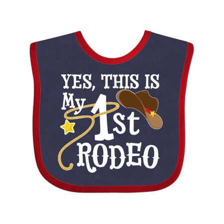 1st Birthday Hat And Bib (Yes, This is my 1st Rodeo- cowboy hat with red band, lasso Baby)