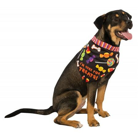 Dog Bandana Pet Costume Accessory Here for the Treats - Medium/Large - Halloween Dog Bandanas Wholesale