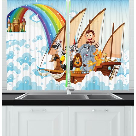 Ark Curtain (Children Curtains 2 Panels Set, Many Animals on a Boat Noah's Ark in Fluffy Clouds with Rainbow Fantasy Cartoon, Window Drapes for Living Room Bedroom, 55W X 39L Inches, Multicolor, by Ambesonne)